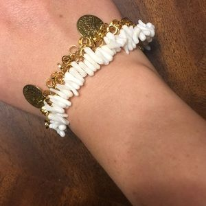 Jewelry - Coral bead and coin bracelet